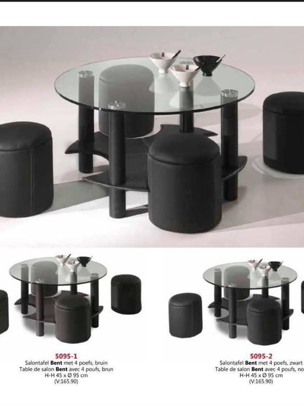 Table en verre rond + 4pouf noir ou brun