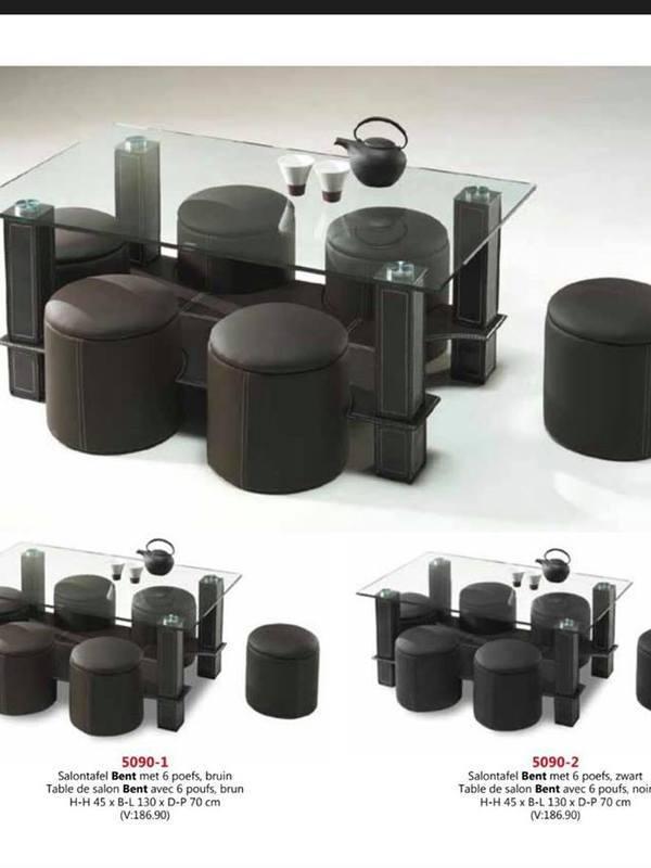 table en verre + 6 pouf  brun ou noir
