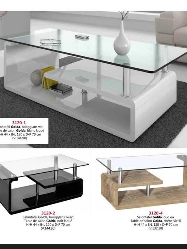 Table de salon en verre couleur noir blanc ou sonoma (bois)