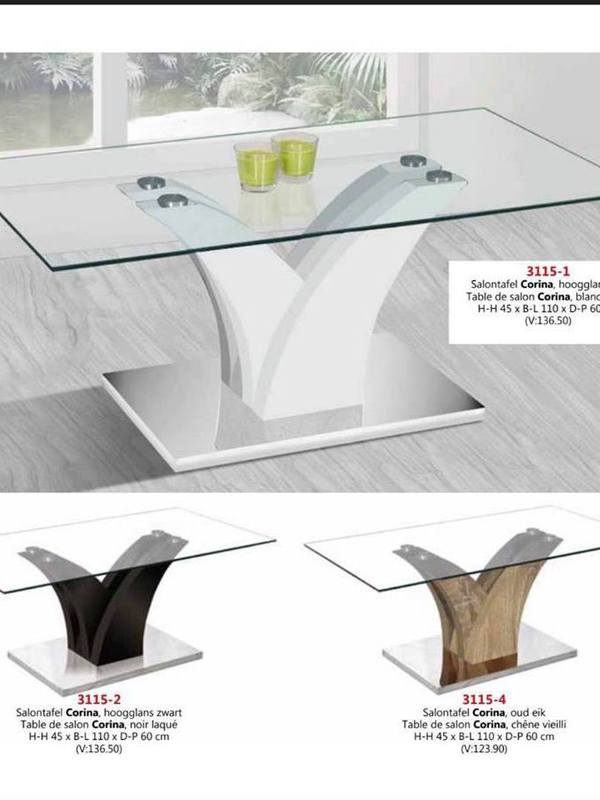 Table en verre couleur blanc noir ou sonoma (bois)