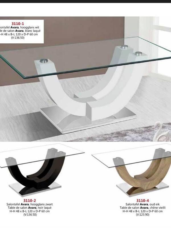 Table en verre blanc noir et sonoma (bois)